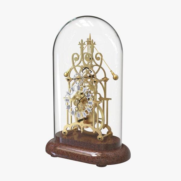 3D brass skeleton clock