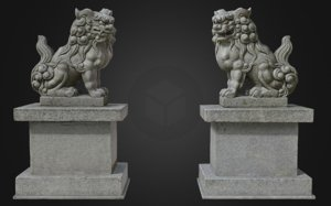 komainu 4 guardian lions 3D