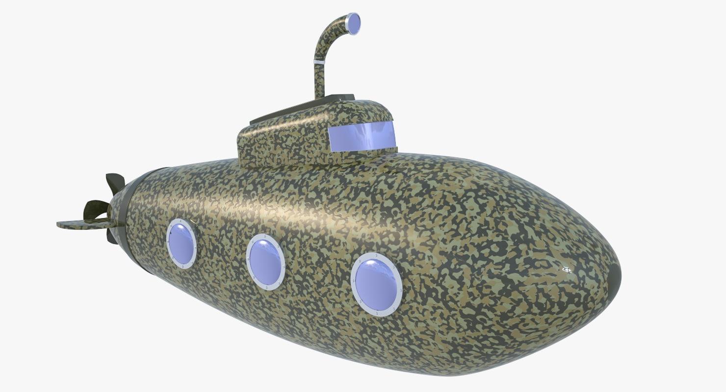 military submarine stylized cartoon 3D
