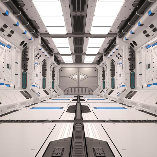 3D model sci fi corridor