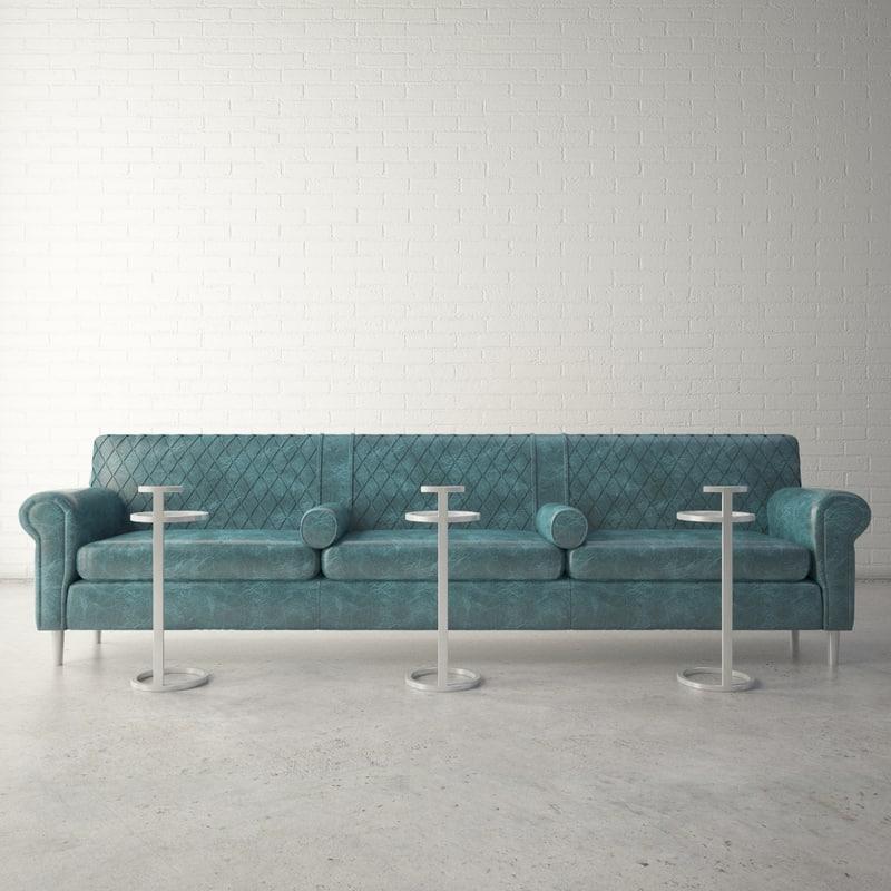custom designed sofa loveseat 3D model