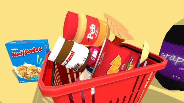 pack food groceries cartoon 3D model