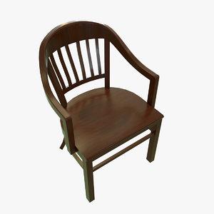 3D model vintage banker chair