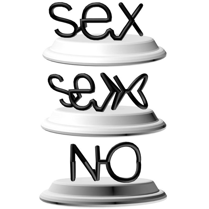 words sex printed 3D model