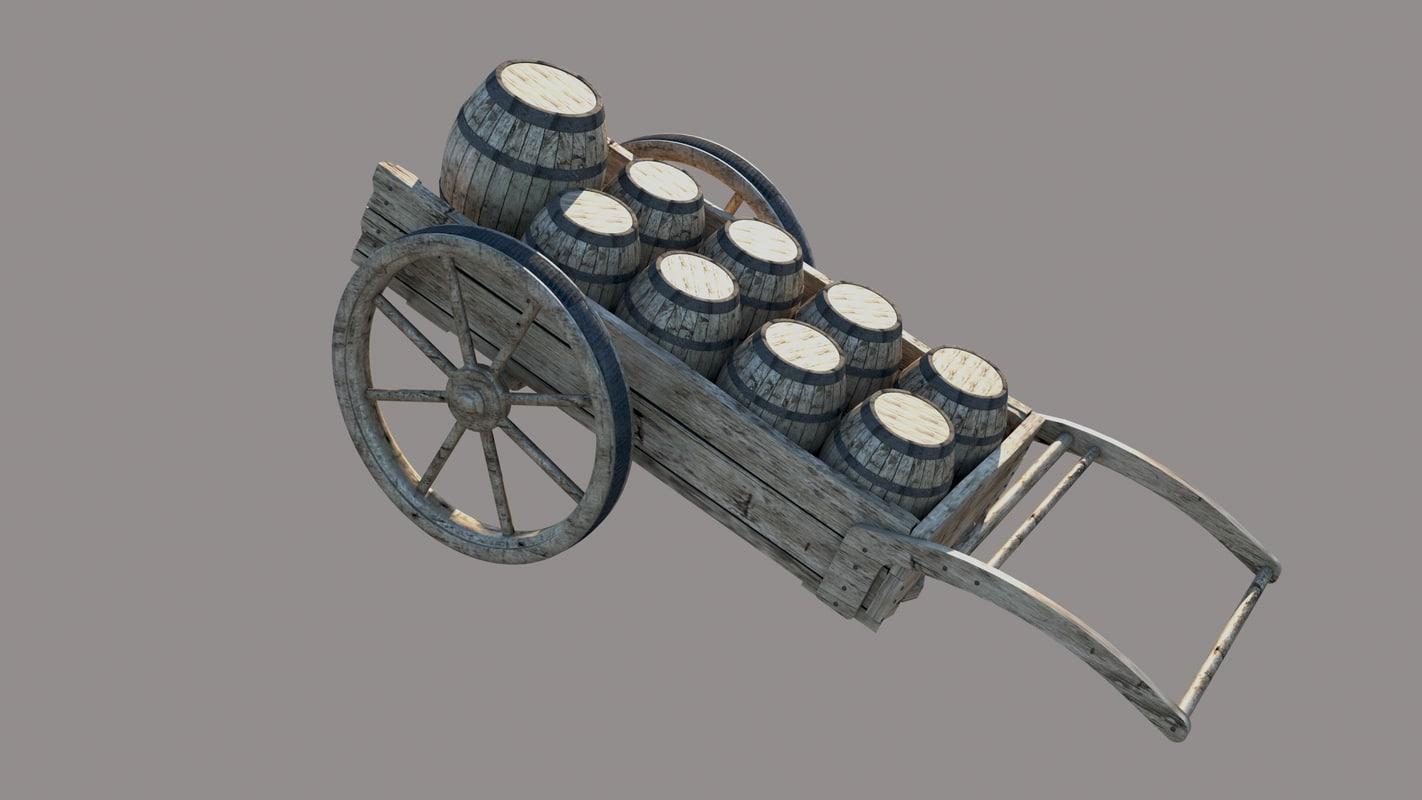 wood cart wine barrel 3D model