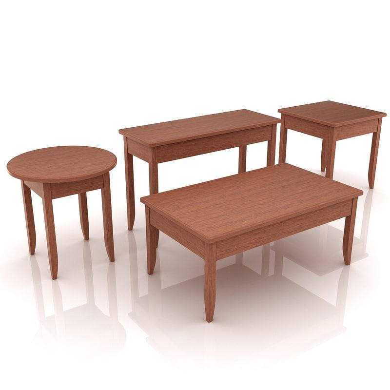 3D model end tables