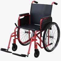 red wheelchair 3D model