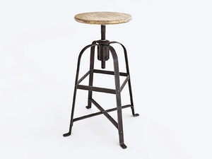 french vintage stool 3D model