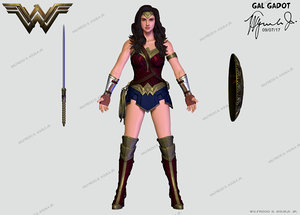 3D wonder woman gal gadot