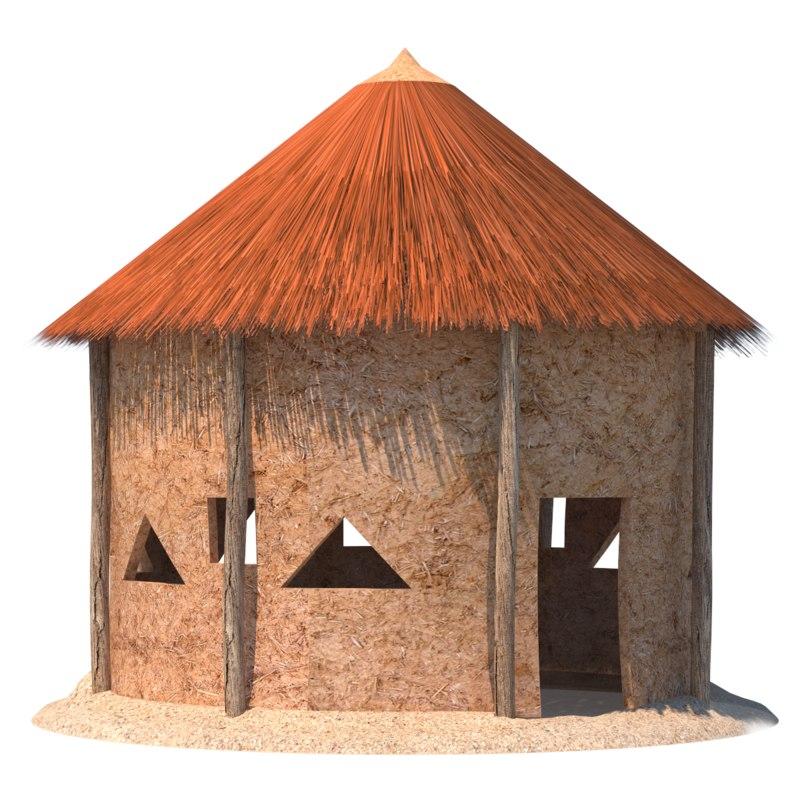 african hut bamboo 3D model