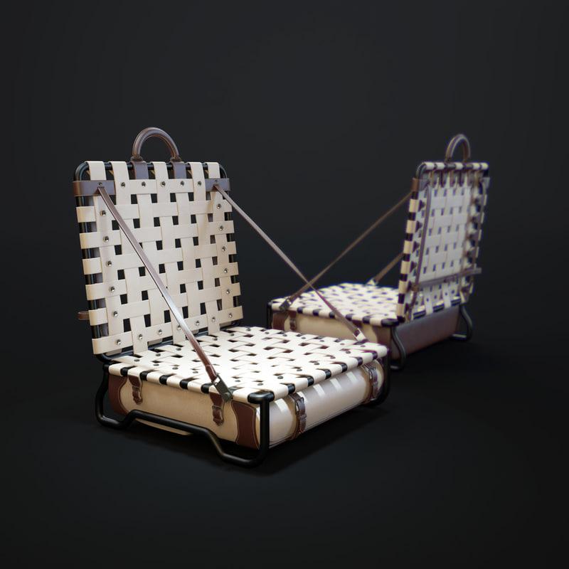 3D louis-vuitton-beach-chair model