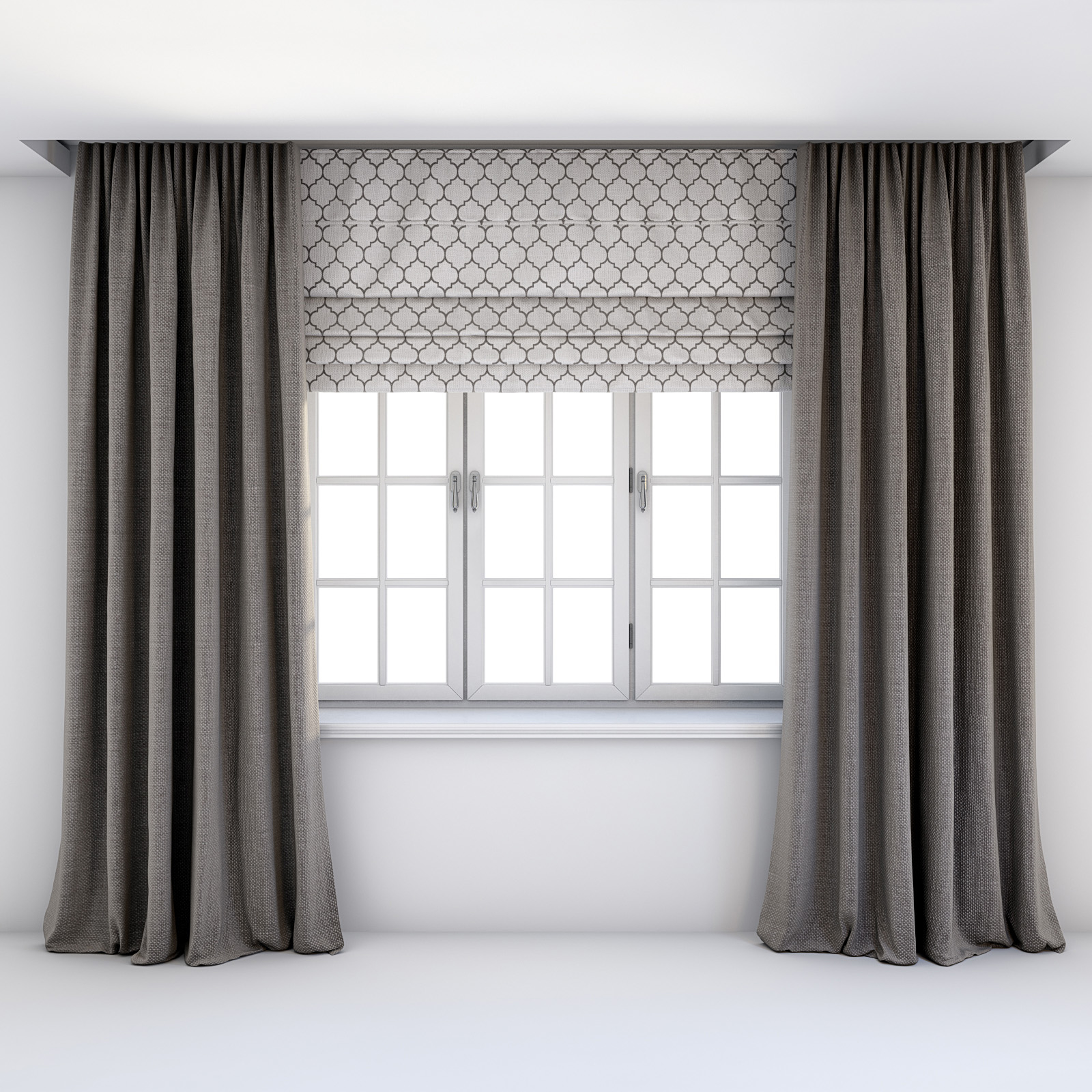 Curtains With Roman Blinds And Window