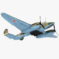 Soviet WWII Light Bomber Petlyakov Pe-2 Rigged 3D Model