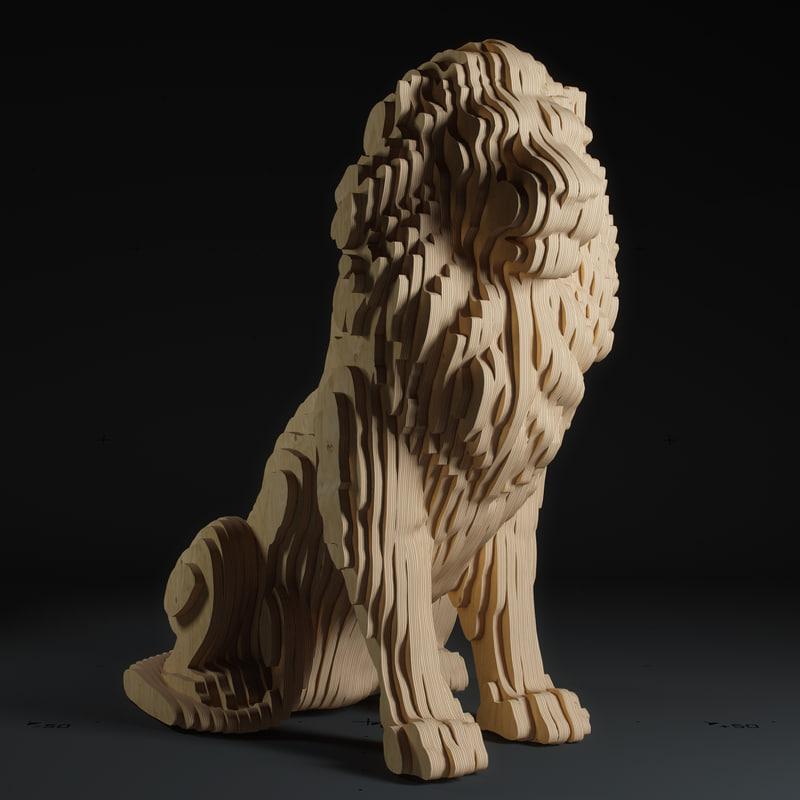 3D model lion parametric