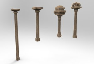 stone pillar indian temple architecture 3D
