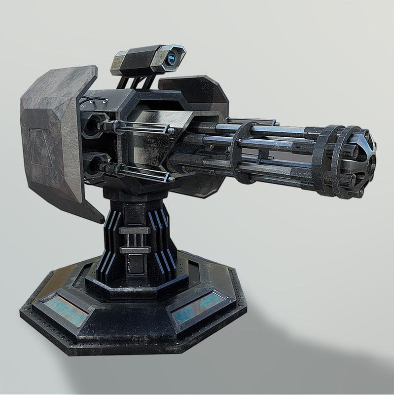 3D minigun turret model