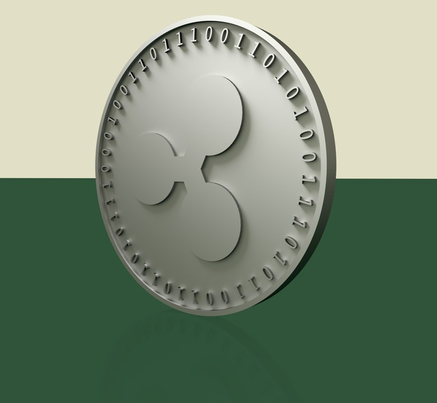coins crypto currency ripple 3D model