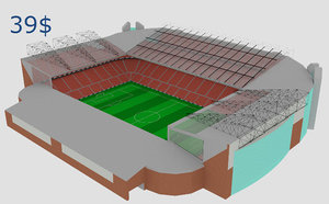 ready old trafford stadium 3D model