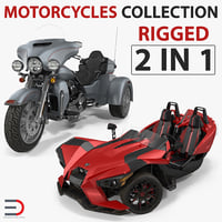 Rigged Trike Motorcycles 3D Models Collection