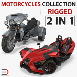rigged trike motorcycles 3D
