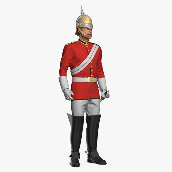 3D british royal soldier standing model