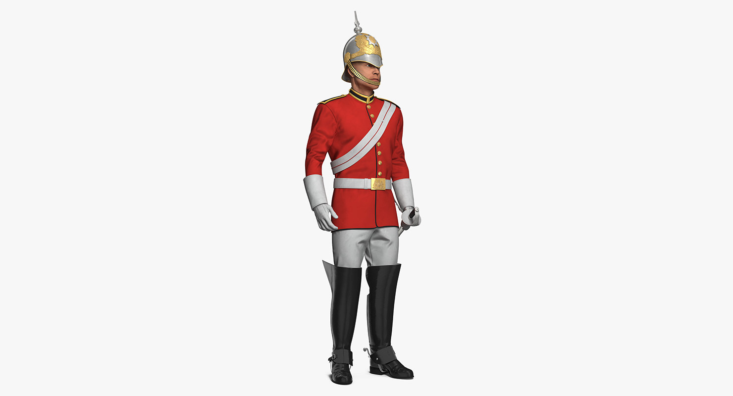 3D british royal soldier standing model