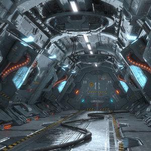 dirty corridor sci fi model