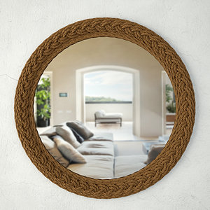 braided jute accent mirror 3D model