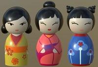 3D kokeshi japanese doll 3