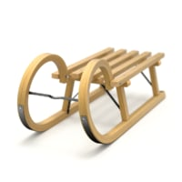 3D sled wooden wood