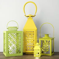 green yellow metal lanterns 3D