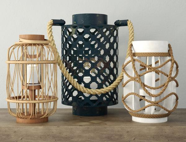 rope rattan lanterns 3D