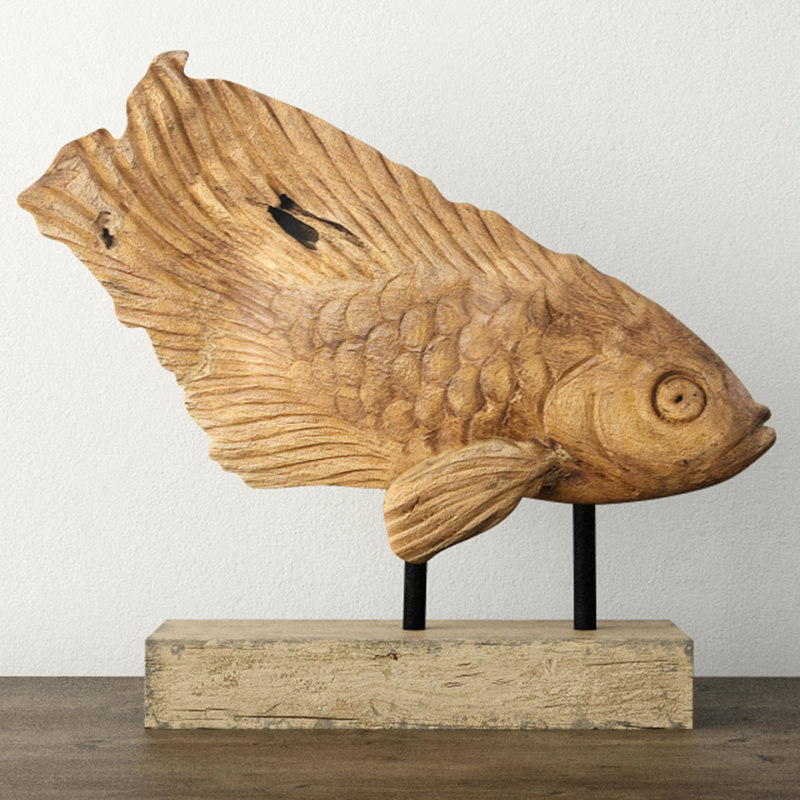 rustic teak fish sculpture 3D model