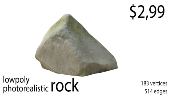 3D model photorealistic rock