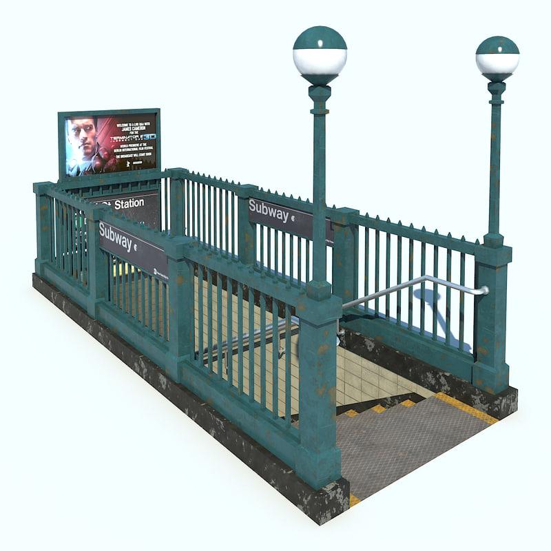3D subway entrance nyc