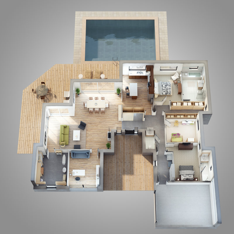 3D lighting floor plan scene model