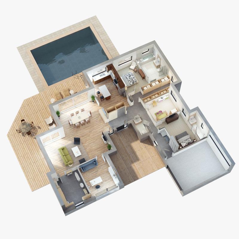 lighting floor plan scene 3D