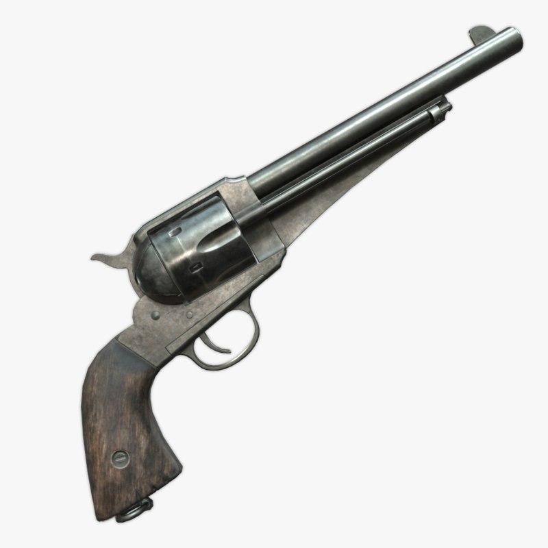 3D model remington 1875 revolver -