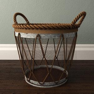 3D assorted metal burlap basket