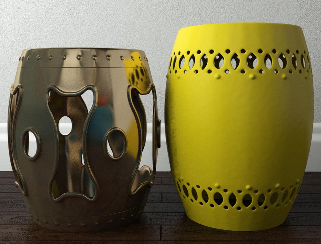 brass ceramic garden stools 3D model