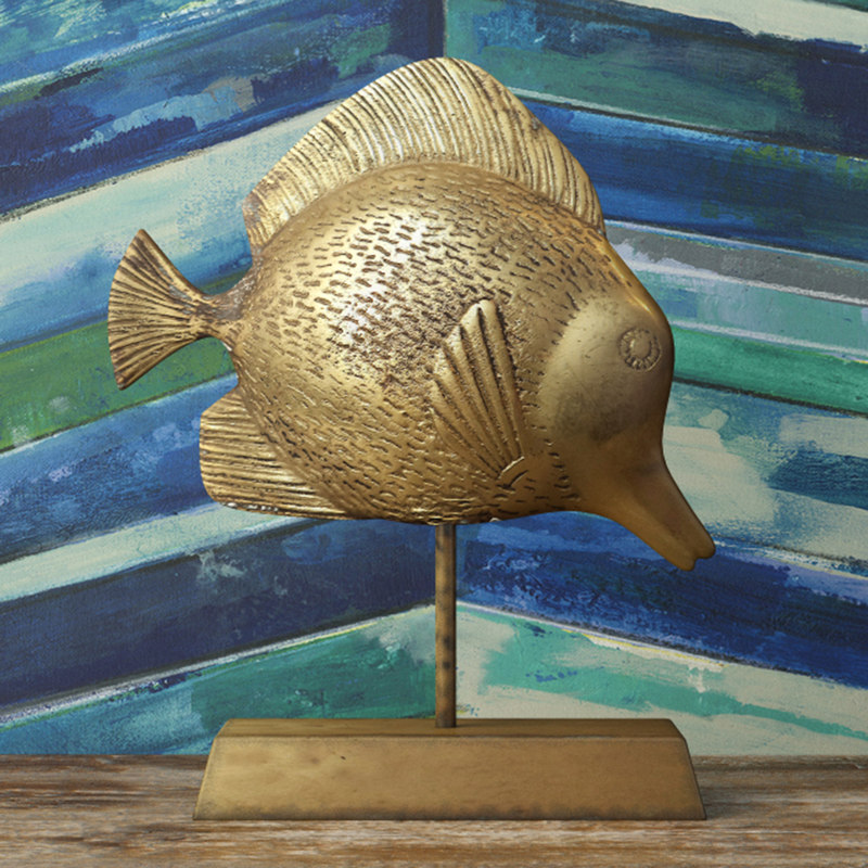 3D midcentury brass fish stand model