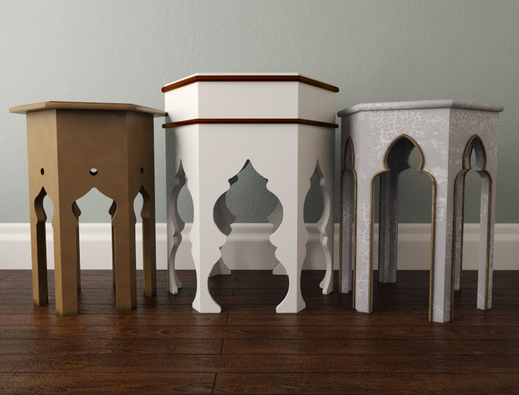 moroccan tables 3D model