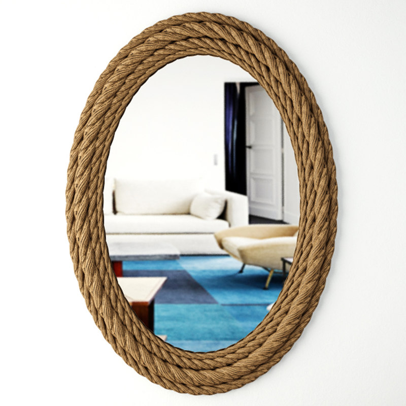 3D model rope oval wall mirror