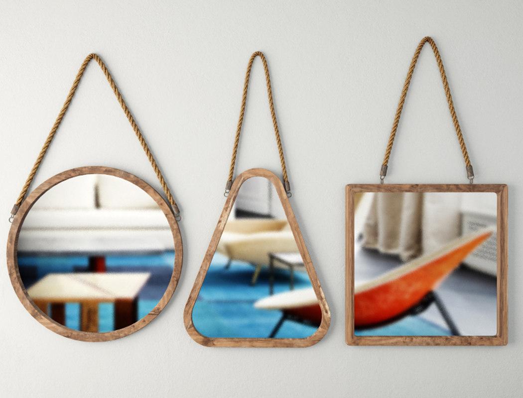 wood mirrors 3D model