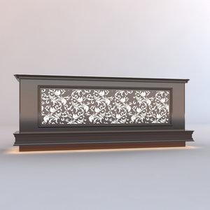 3D model wooden counter