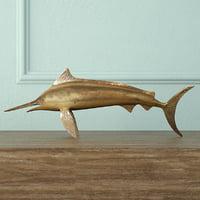 3D brass marlin