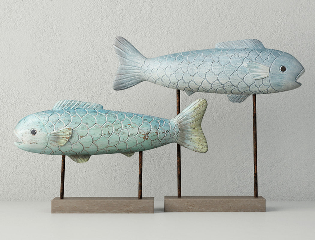 3D model ocean fish figure set