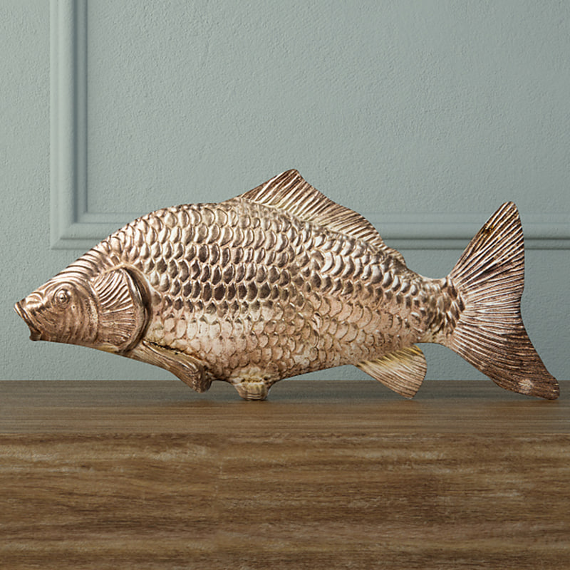 3D silvered fish decoration model