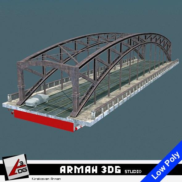3D model bridge road tram