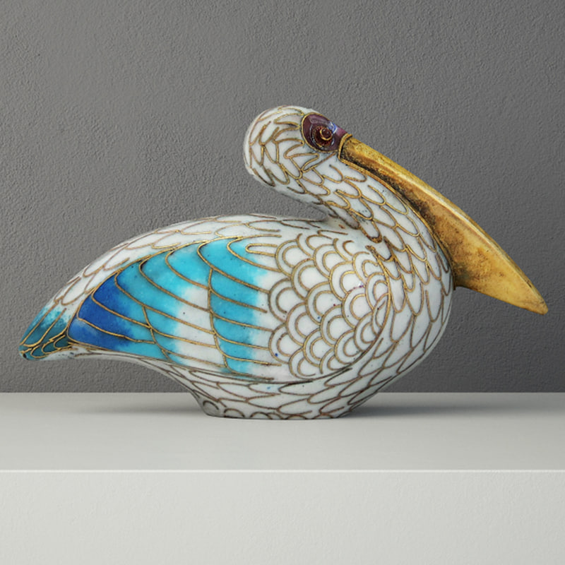 cloisonn pelican garnet eyes model